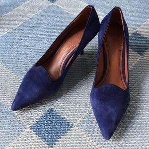 Elizabeth and James blue suede heels